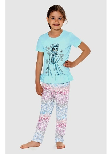 Frozen Frozen Lisanslı Kız Çocuk Pijama Takımı Mavi